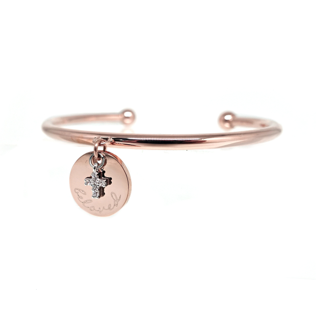 Petite Cross with Round Tag Bangle (Rose Gold)