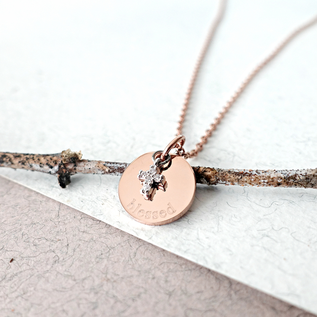 Petite Cross with Round Pendant Necklace (Rose Gold)
