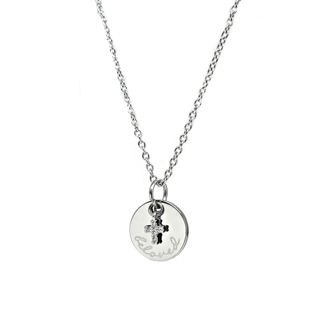 Petite Cross with Round Pendant Necklace (Silver)