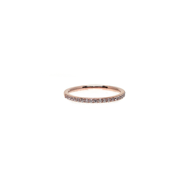 Thin Cubic Zirconia Band Ring (Rose Gold)