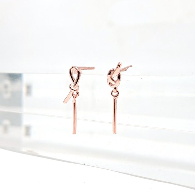 Asymmetrical Knot Earrings (Rose Gold)