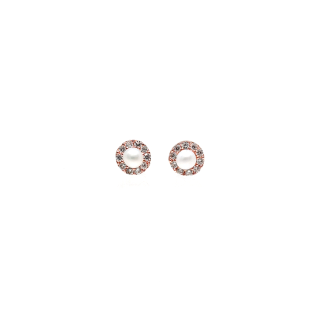 CZ with Pearl Stud Earring (Rose Gold)