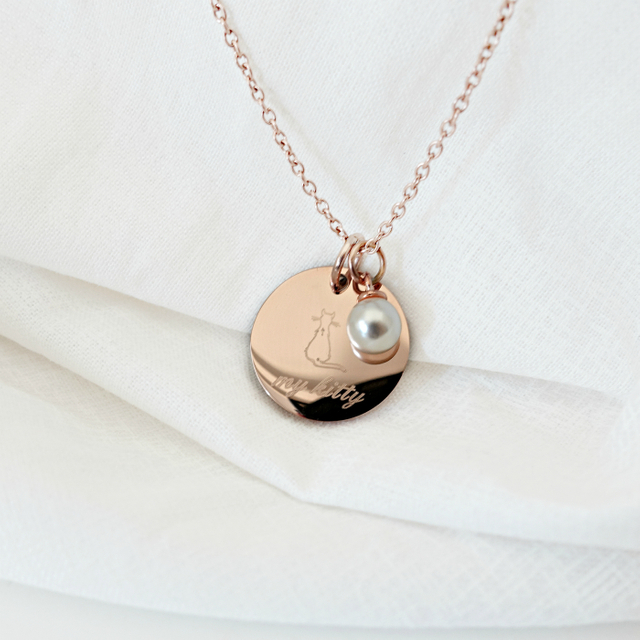 Doodle Round Necklace (Rose Gold)