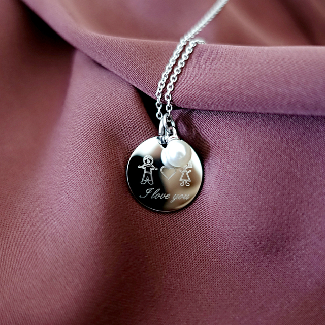 Doodle Round Necklace (Silver)
