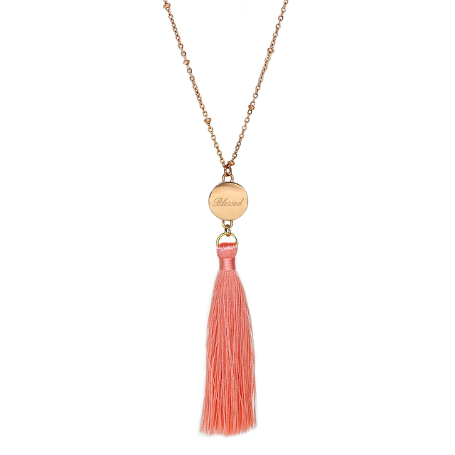 Ally Tassel Necklace (Coral)