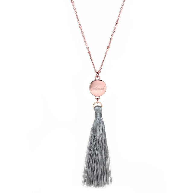 Ally Tassel Necklace (Grey)