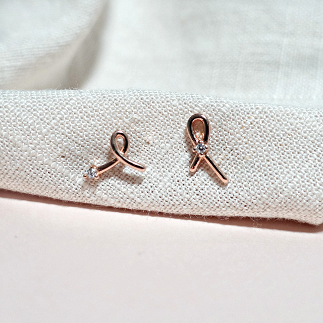 Ribbon Asymmetrical Earring (Rose Gold)