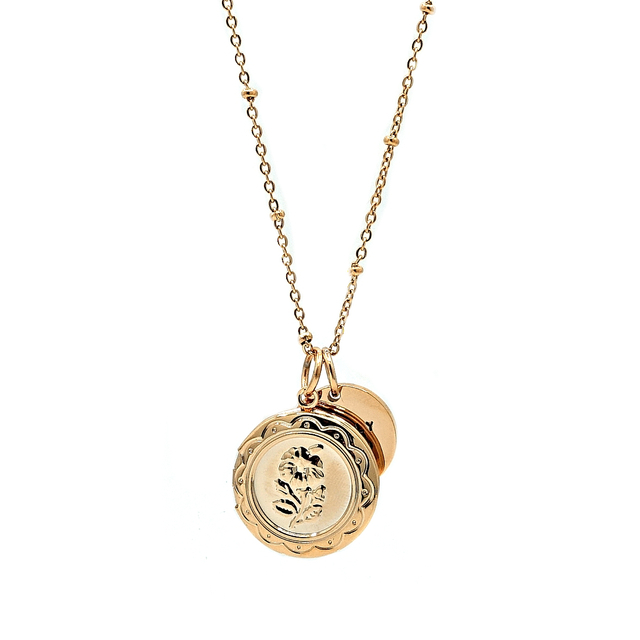 Rose Locket Necklace (Gold)