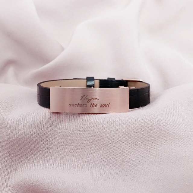 Raylene Leather Bracelet (Black/Rose Gold)