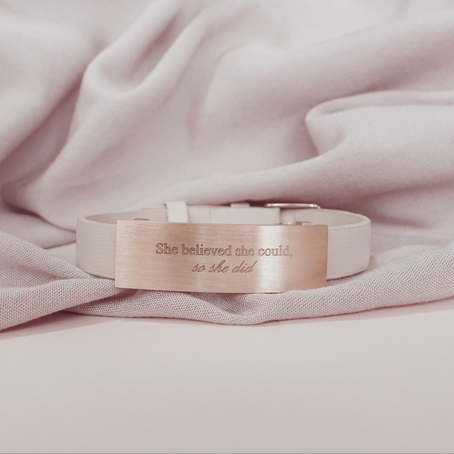 Raylene Leather Bracelet (Nude/Rose Gold)