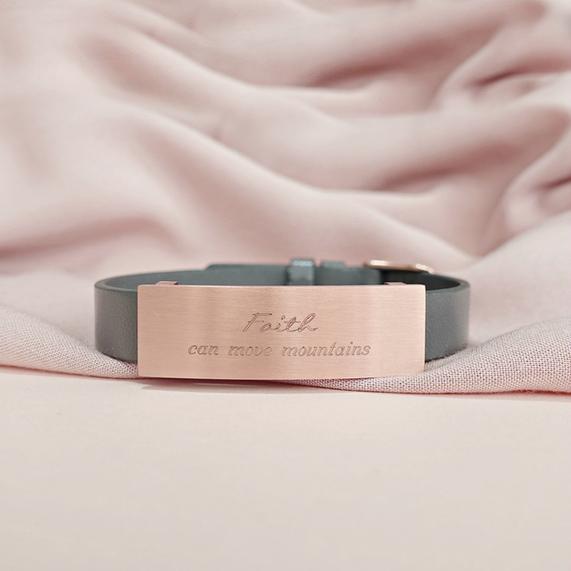 Raylene Leather Bracelet (Grey/Rose Gold)