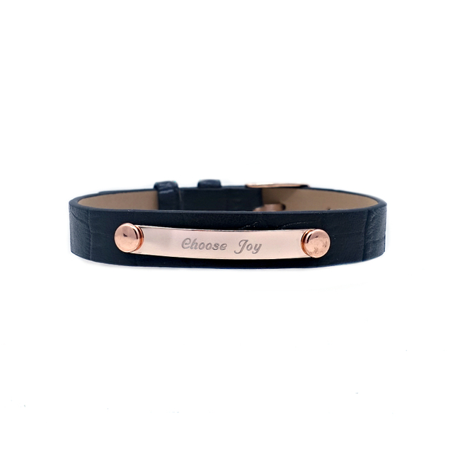 Taylor Leather Bracelet (Black/Rose Gold)