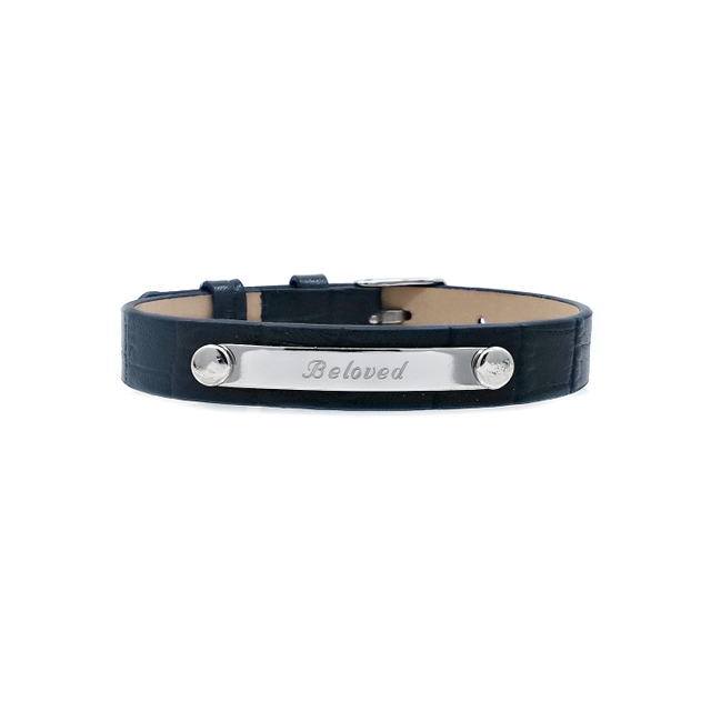 Taylor Leather Bracelet (Black/Silver)