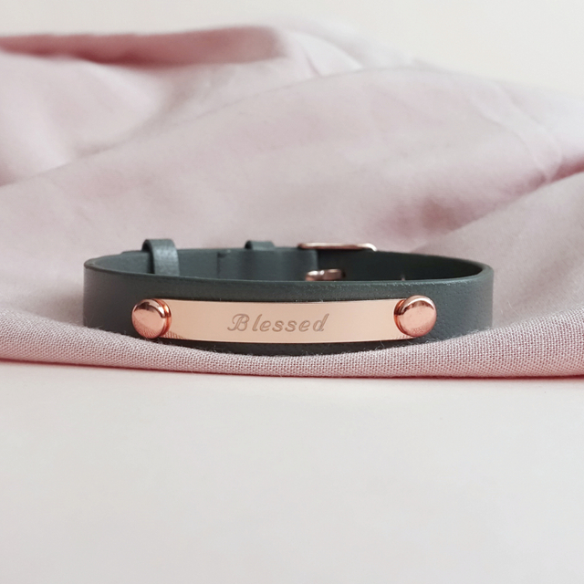 Taylor Leather Bracelet (Grey/Rose Gold)