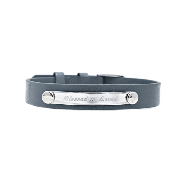 Taylor Leather Bracelet (Grey/Silver)