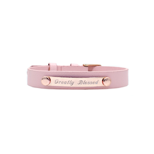 Taylor Leather Bracelet (Pink/Rose Gold)