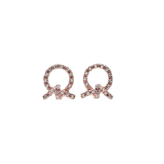 CZ Classic Ribbon Earrings (Rose Gold)