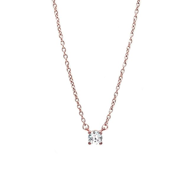 CZ Stud Necklace (Rose Gold)
