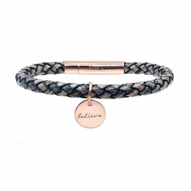 Braided Leather Bracelet (Rustic Blue)