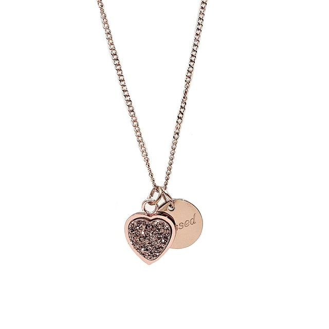Heart Druzy Necklace (Champagne/Rose Gold)