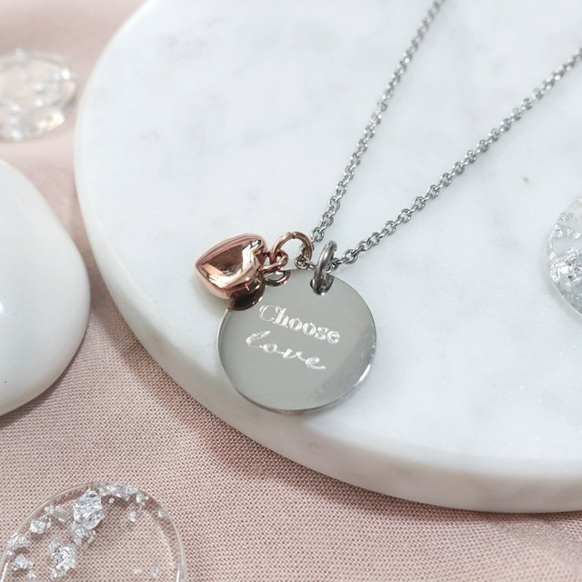 Puffy Heart Necklace (Silver)
