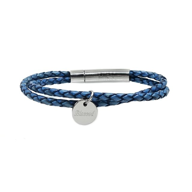 Twin Leather Bolo Bracelet (Blue)