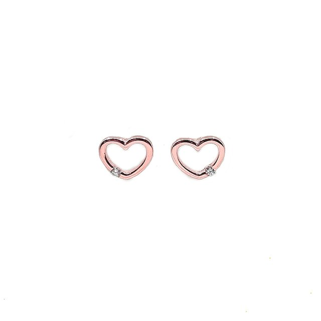 Simple Heart Stud Earrings (Rose Gold)