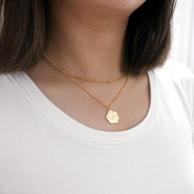 Layering Flower Pendant Necklace (Gold)