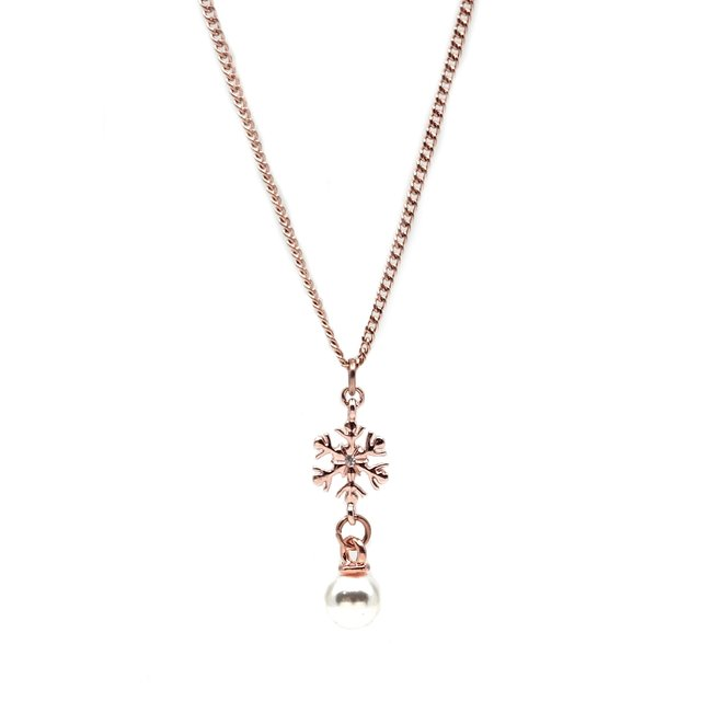 Snowflake Pearl Drop Necklace (Rose Gold)