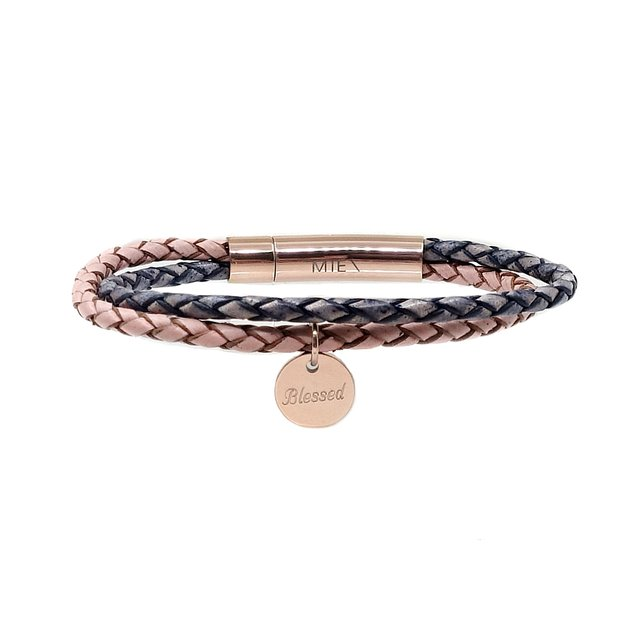 Twin Leather Bolo Bracelet (Pink/Pacific)