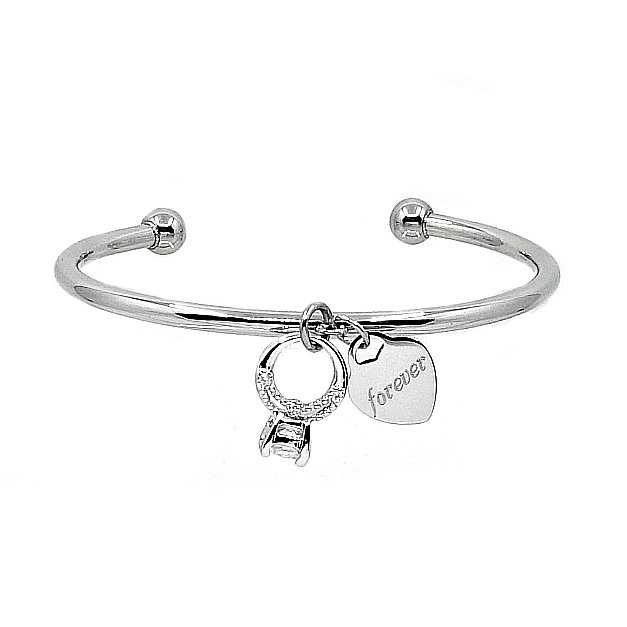 CZ Ring Charm Bangle - Silver