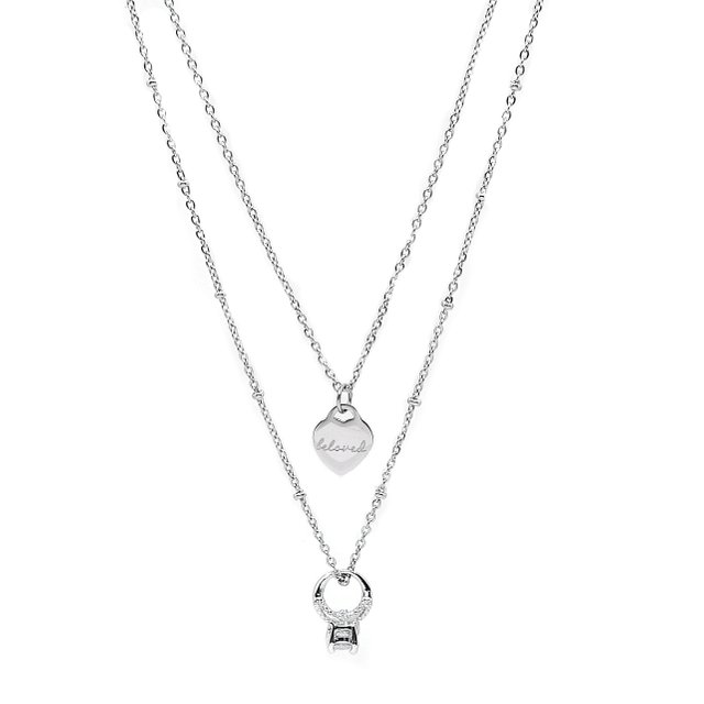 CZ Ring Charm Layering Necklace - Silver