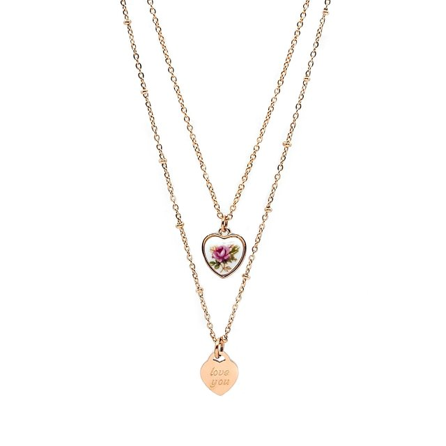 Vintage Rosé Charm Layering Necklace - Gold *Limted ED.*