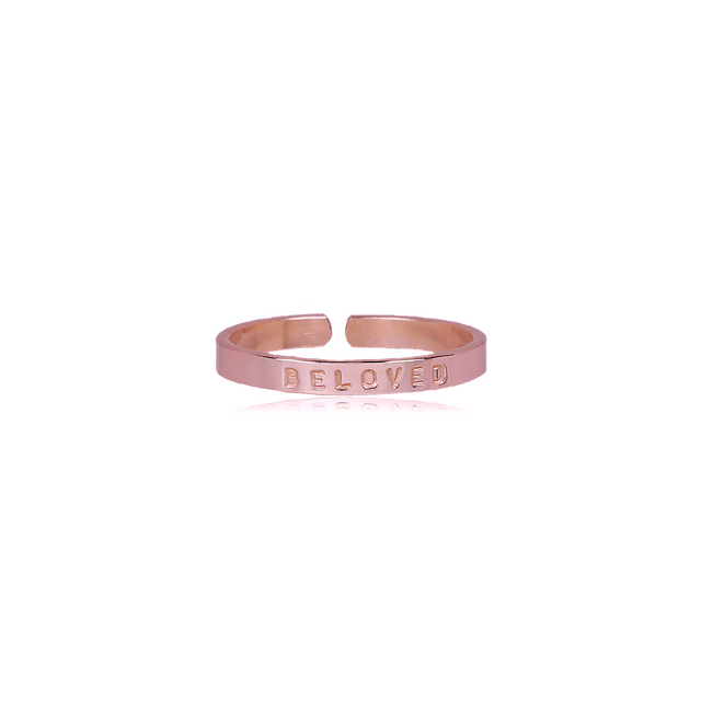 Rose Gold Filled Thin Ring - BELOVED (SIZE 5)