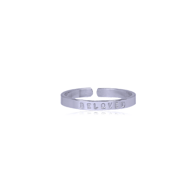 Sterling Silver Thin Ring - BELOVED (SIZE 5)