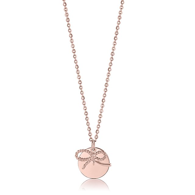 Deliah Ribbon Necklace (Rose Gold)