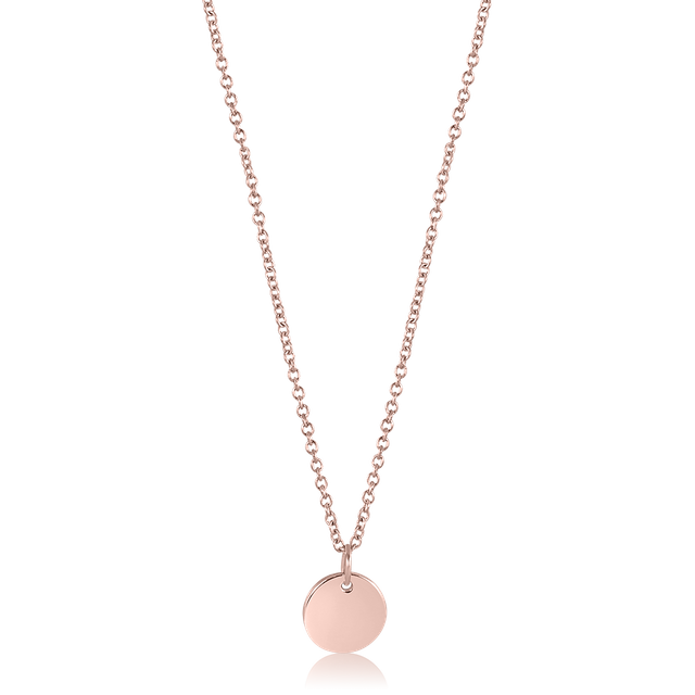 Minimalist Round Pendant Necklace (Rose Gold)