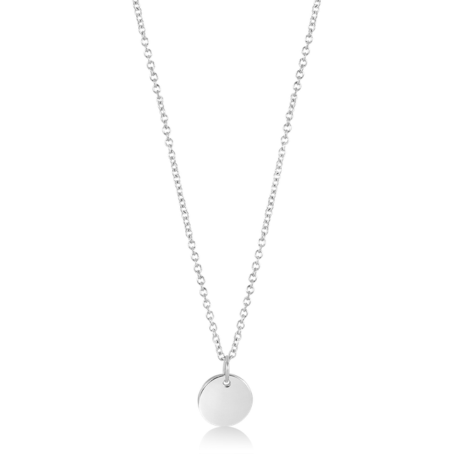 Minimalist Round Pendant Necklace (Silver)