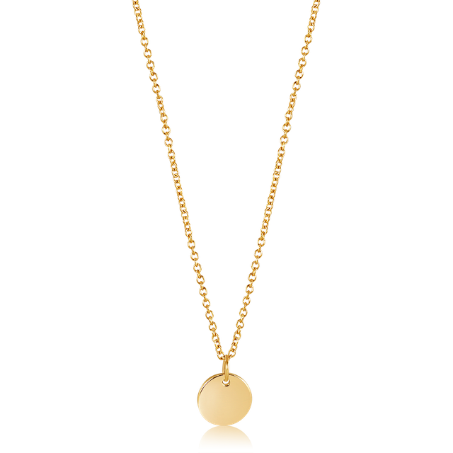 Minimalist Round Pendant Necklace (Gold)