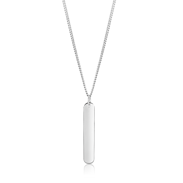 Lynna Vertical Bar Necklace (Silver)