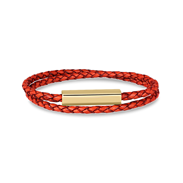 Blake Leather Bracelet (Antique Red)